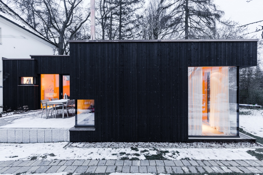 Holzfassade Schwarz f3 anbau haus hitzler biobau portal